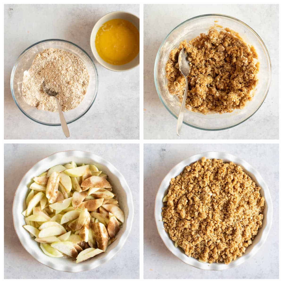 Step by step photo instructions for making the easy apple crumble recipe.