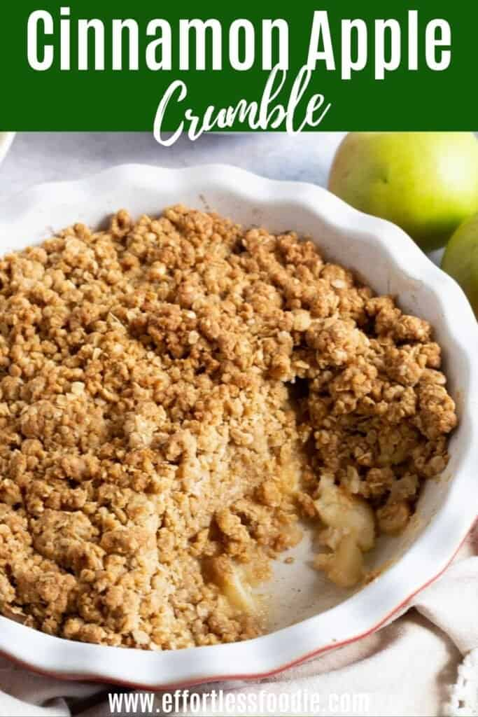 Apple crumble pin image for Pinterest.