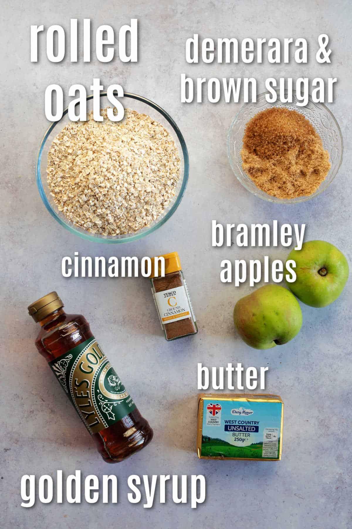 Ingredients for apple crumble flapjacks.