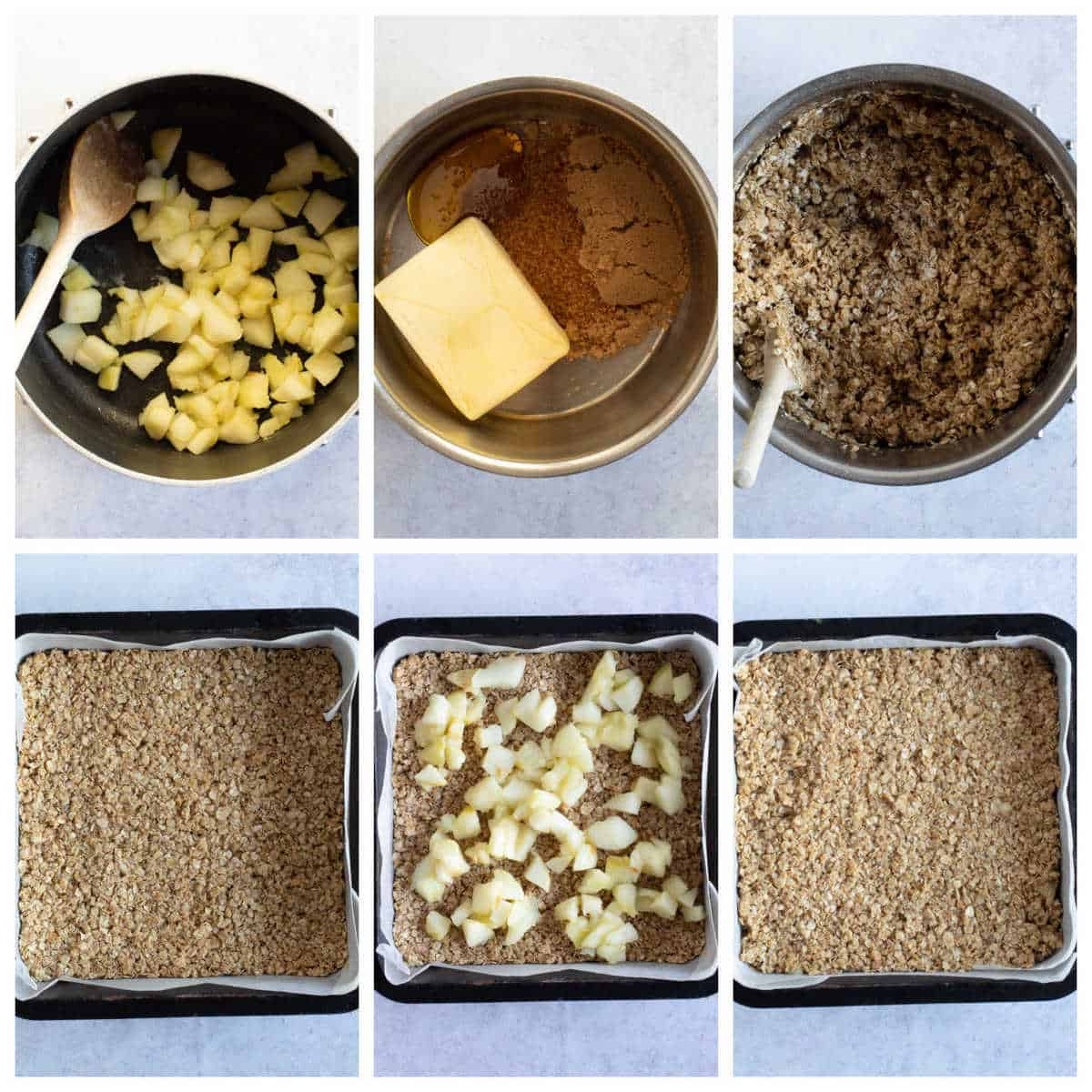 Step by step photo instructions for making apple flapjacks.