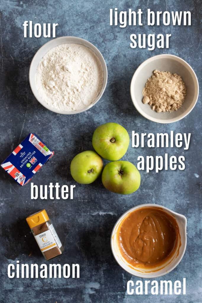 Ingredients needed to make apple pie bars