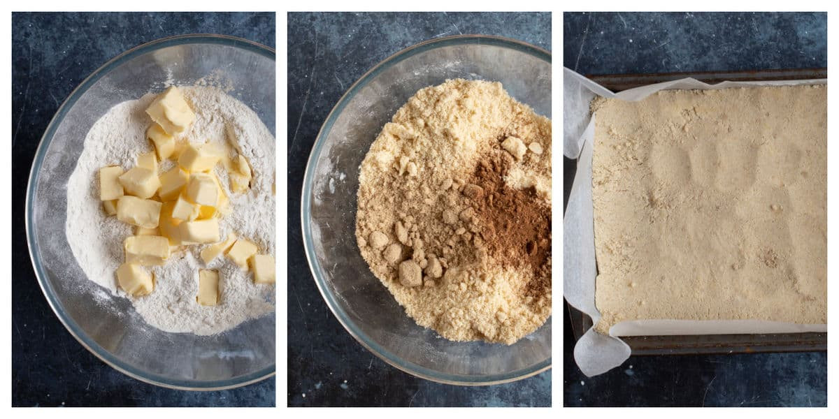 Step by step photo instructions for making the shortbread crust for the apple pie bars.