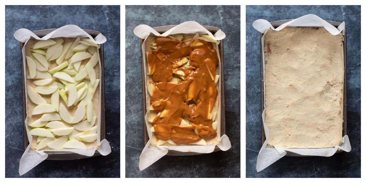 Photo instructions for assembling the apple pie bars.