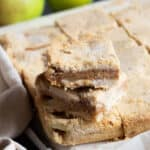 A stack of caramel apple pie bars.