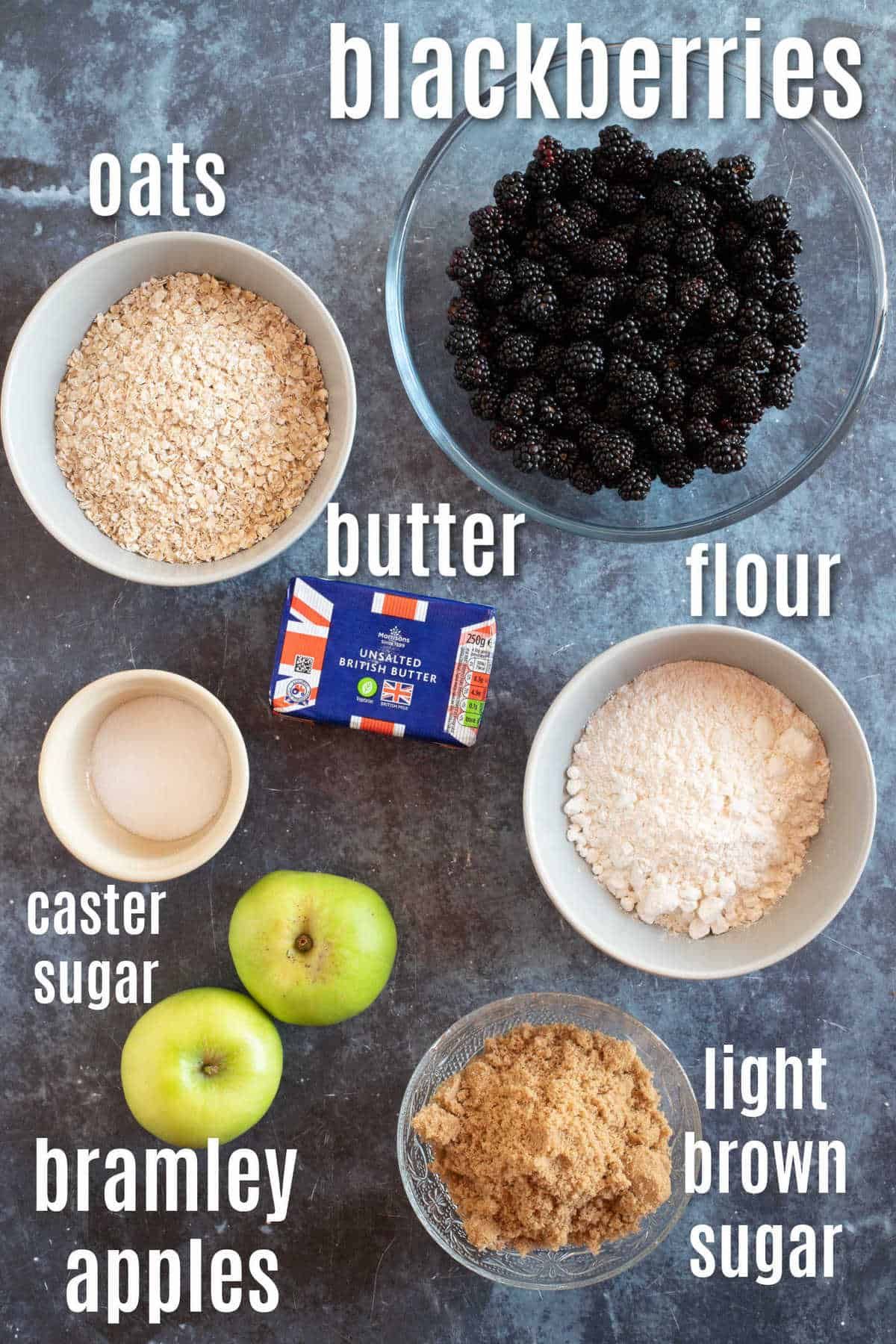 Ingredients for blackberry crumble.