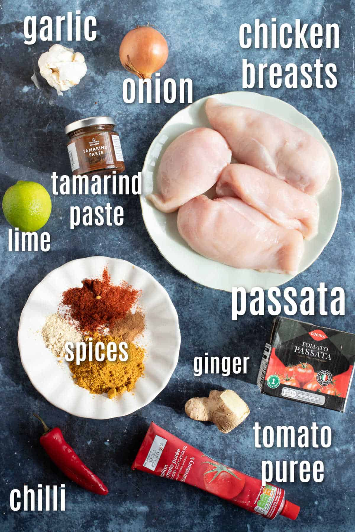 Ingredients to make chicken pathia curry.