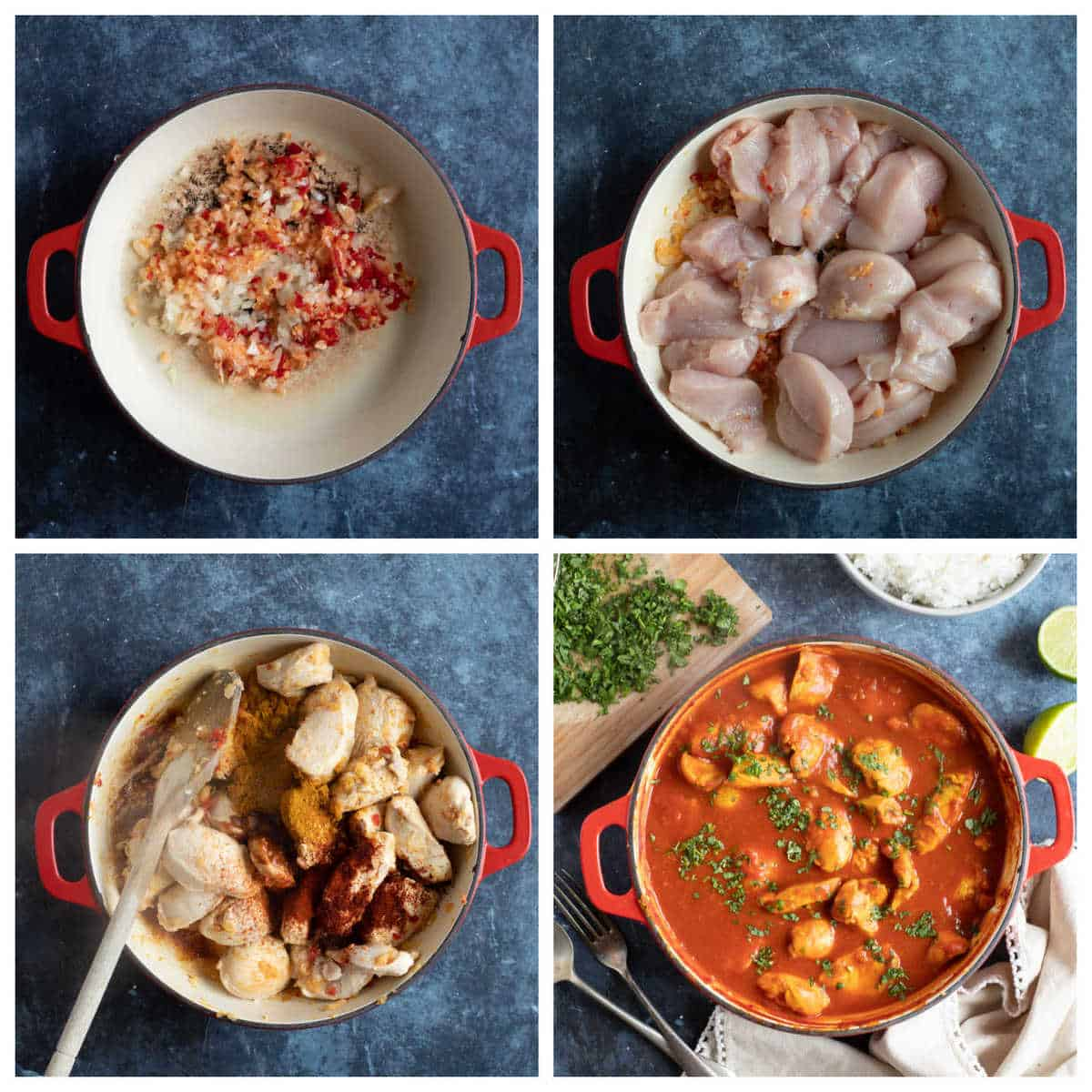 Step by step photo instructions for making chicken pathia.