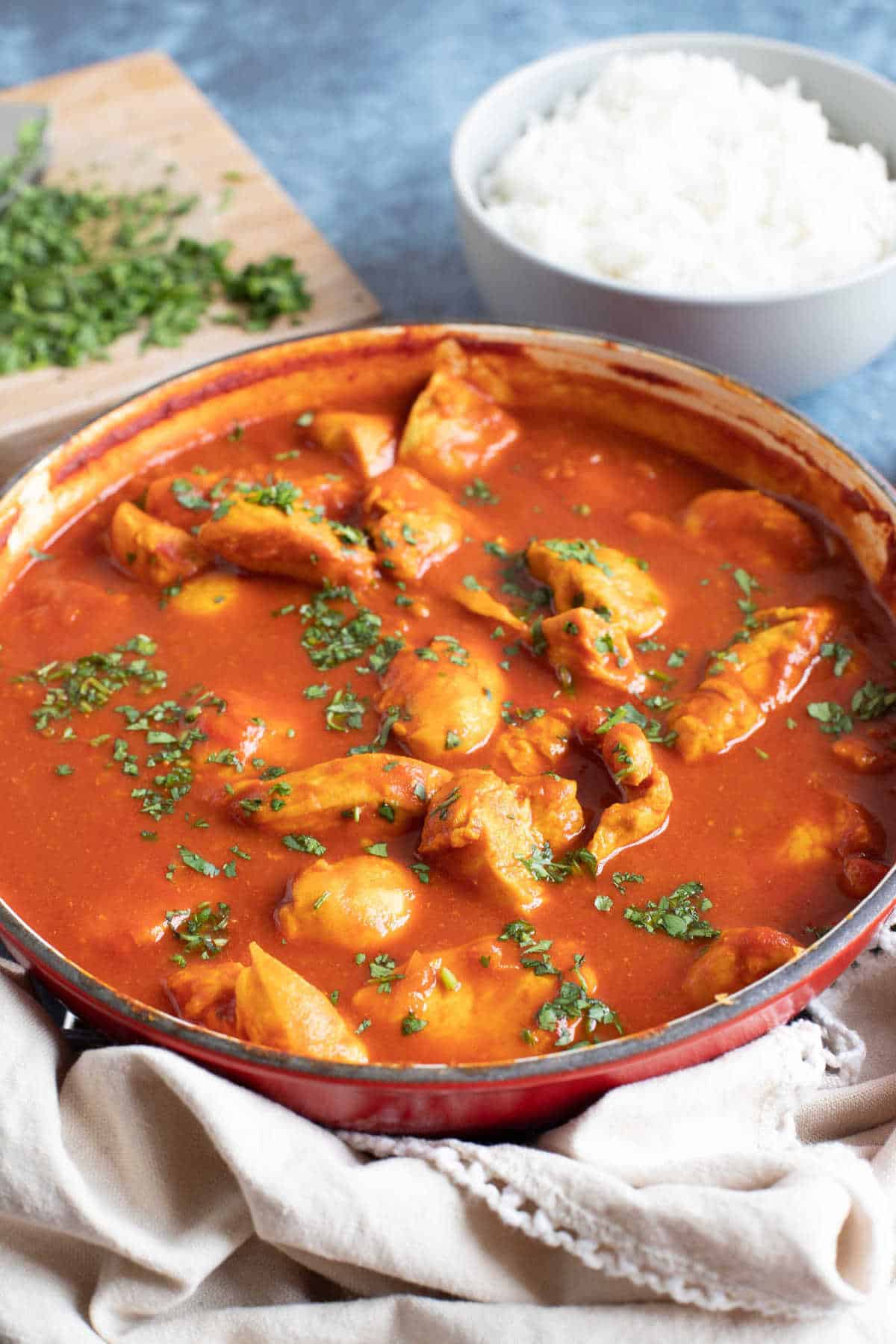 Chicken pathia curry with rice.