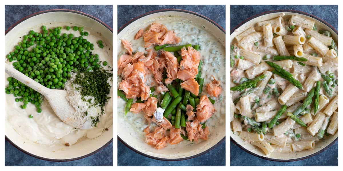 Step by step photo instructions for making hot smoked salmon pasta.