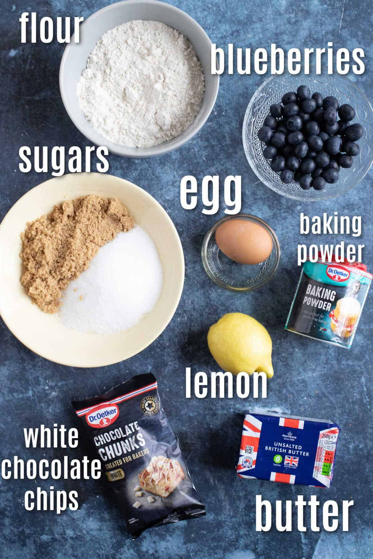 Ingredients for lemon and blueberry blondies.