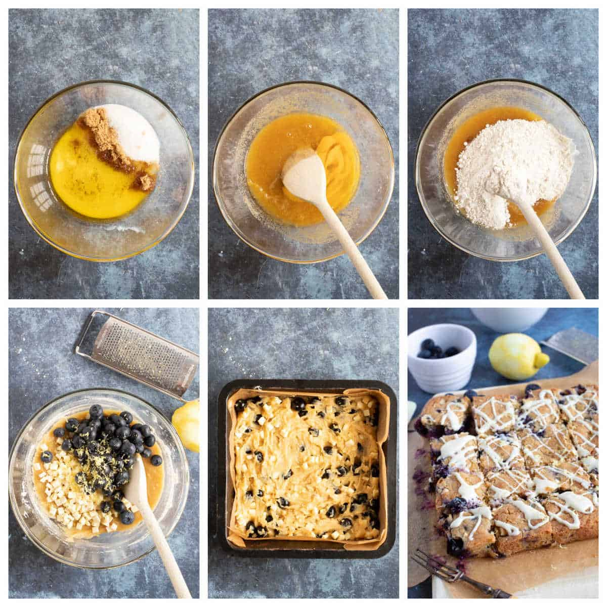 Step by step photo instructions for making lemon blueberry blondies.