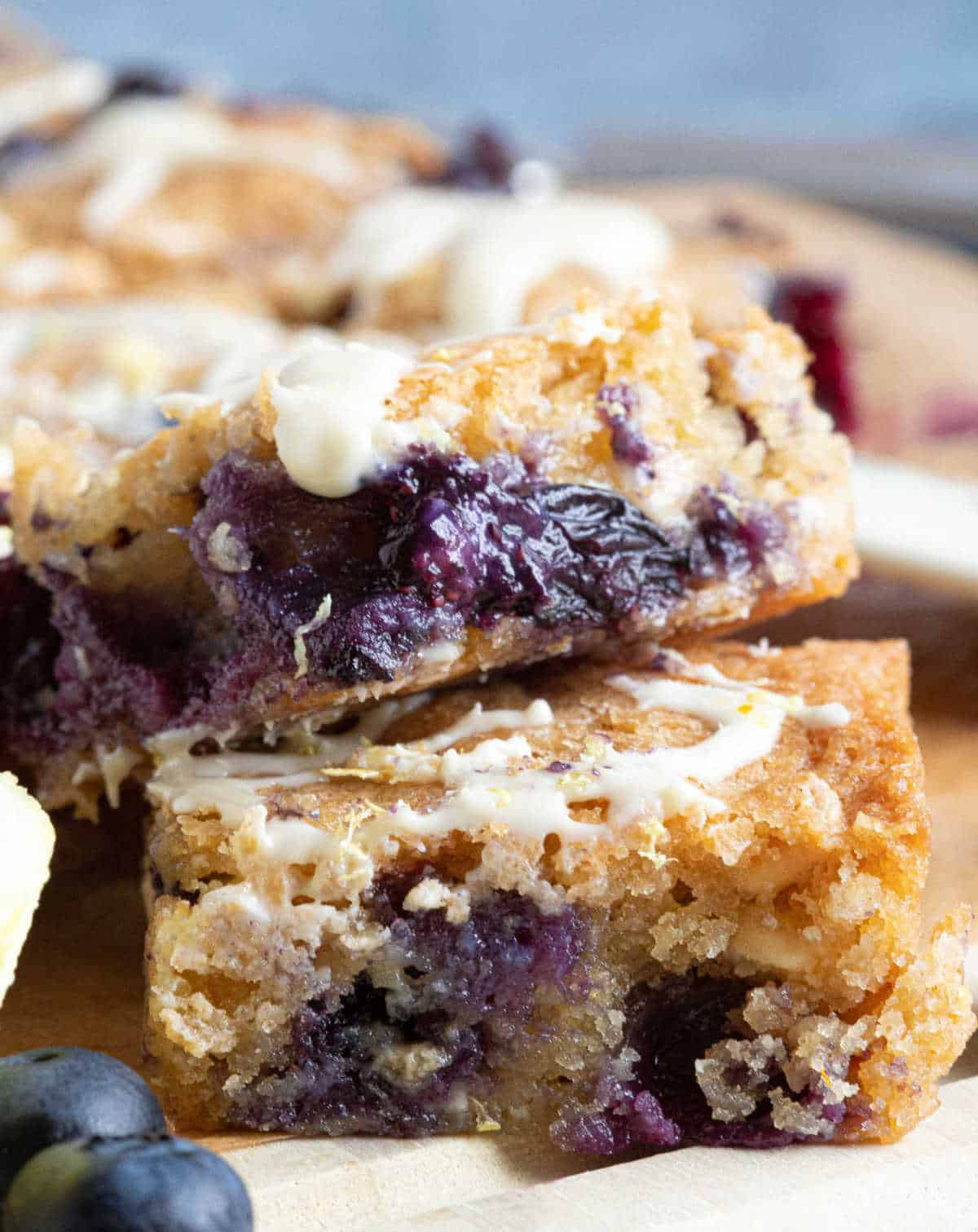 A stack of lemon blueberry blondies.