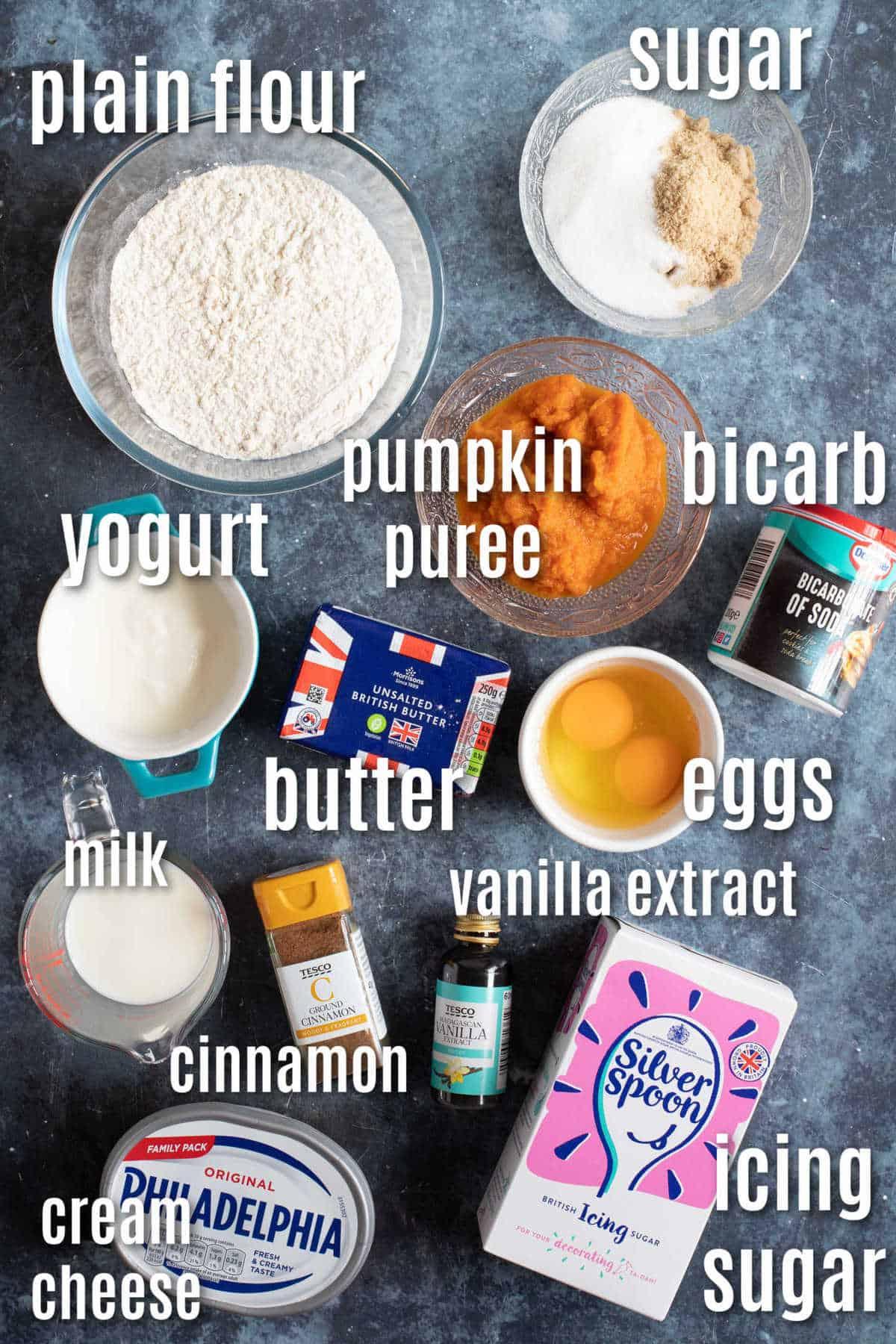 Ingredients for pumpkin muffins (UK ingredients).