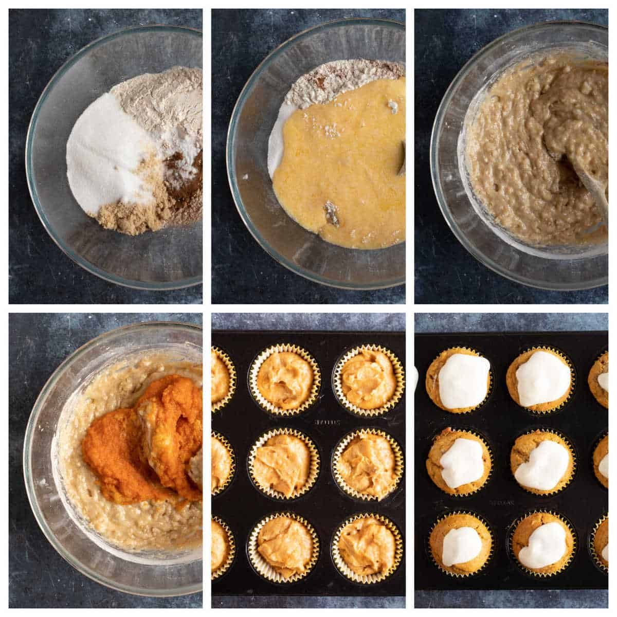Step by step photo instructions for making cinnamon spiced pumpkin muffins with cream cheese frosting.