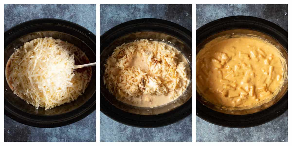 Step by step photo instructions for making slow cooker macaroni cheese.
