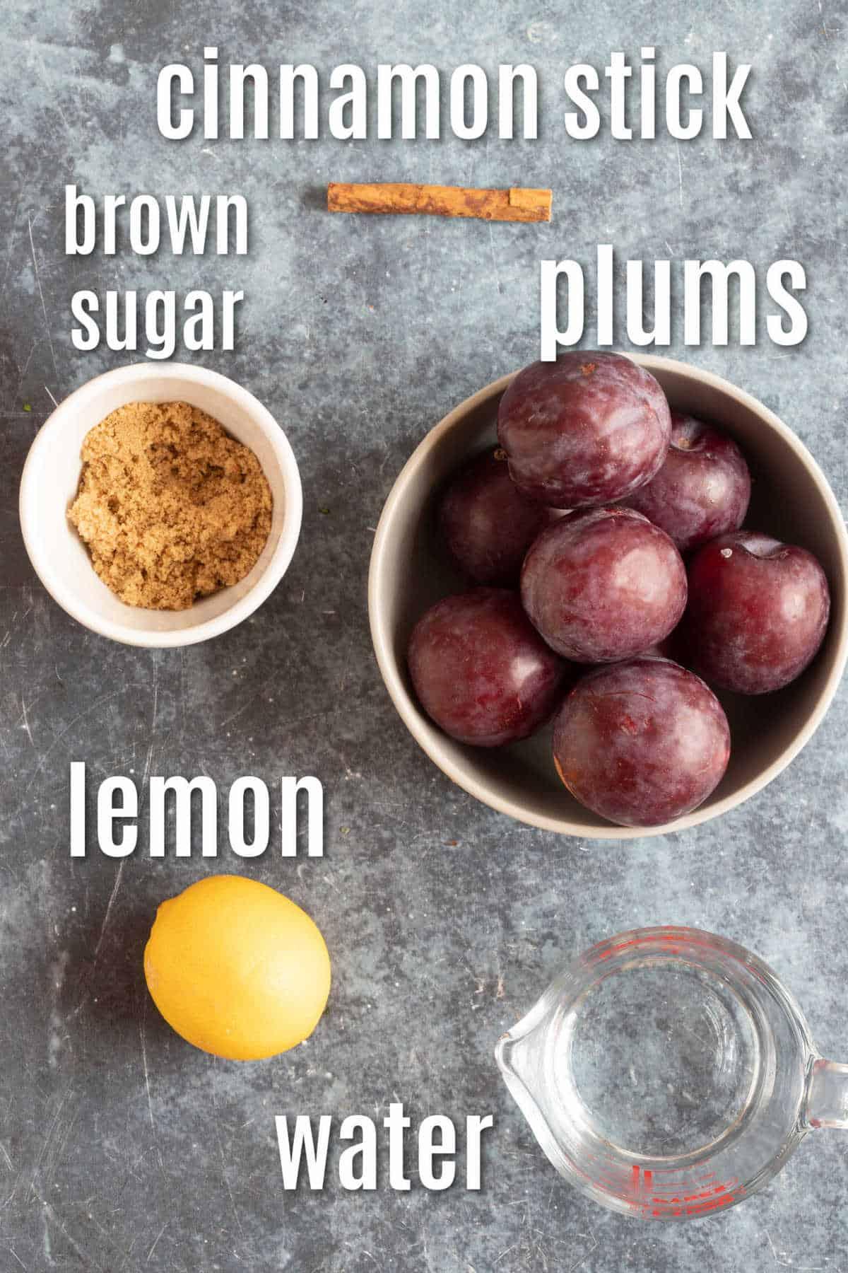 Ingredients needed to make stewed plums.
