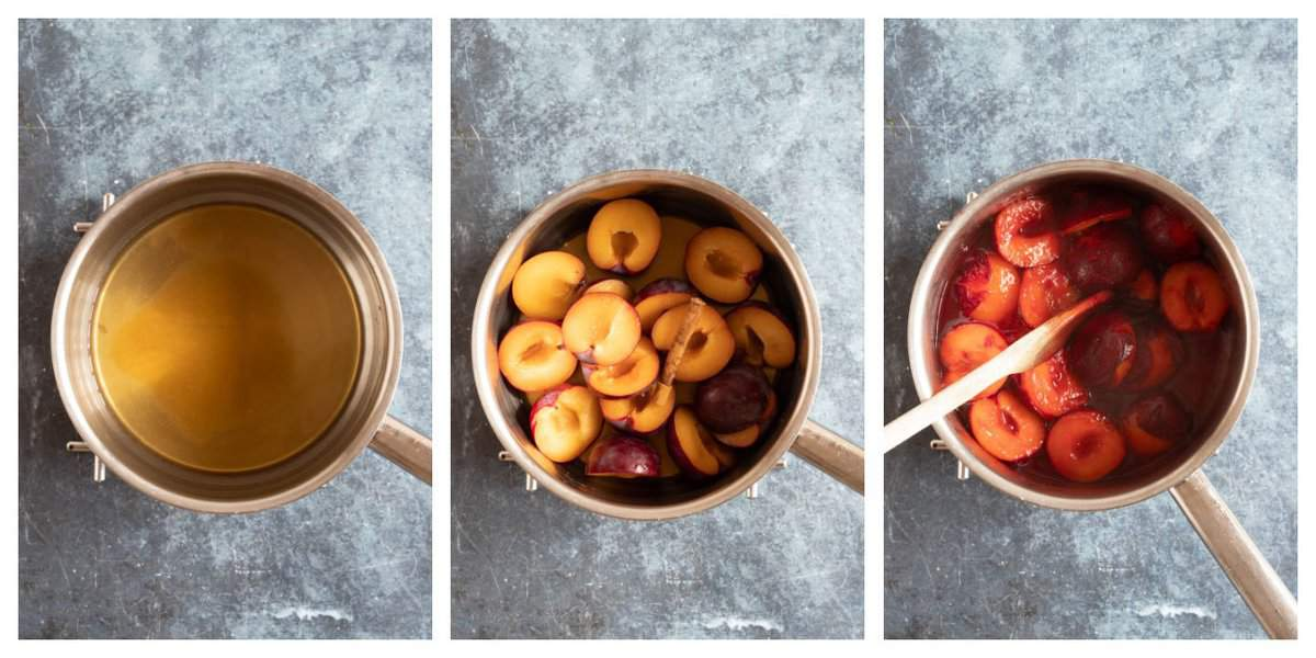 Step by step photo instructions for making stewed plums.