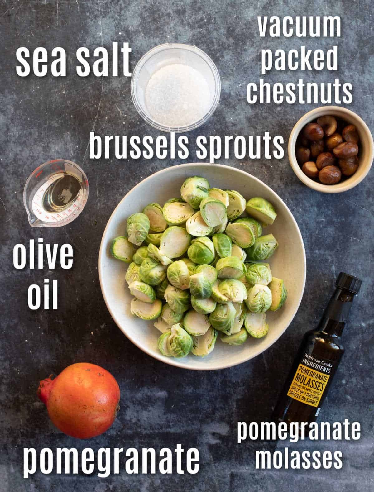 Ingredients needed to make the air fryer brussels sprouts.