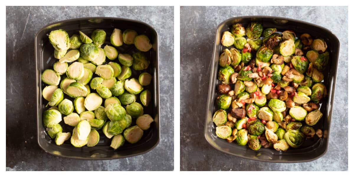 Brussels sprouts in an air fryer basket.