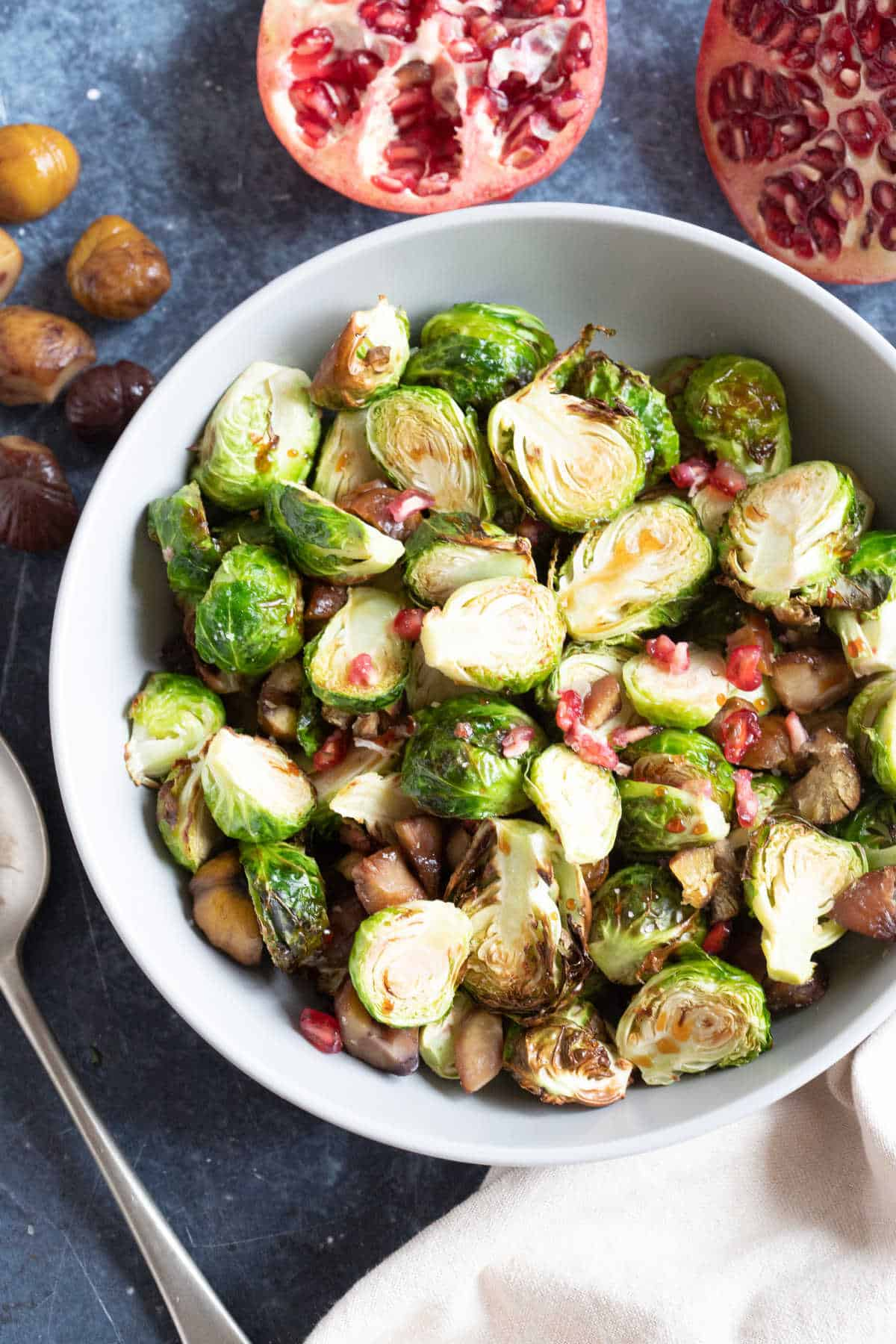 Crispy air fryer brussels sprouts with chestnuts.