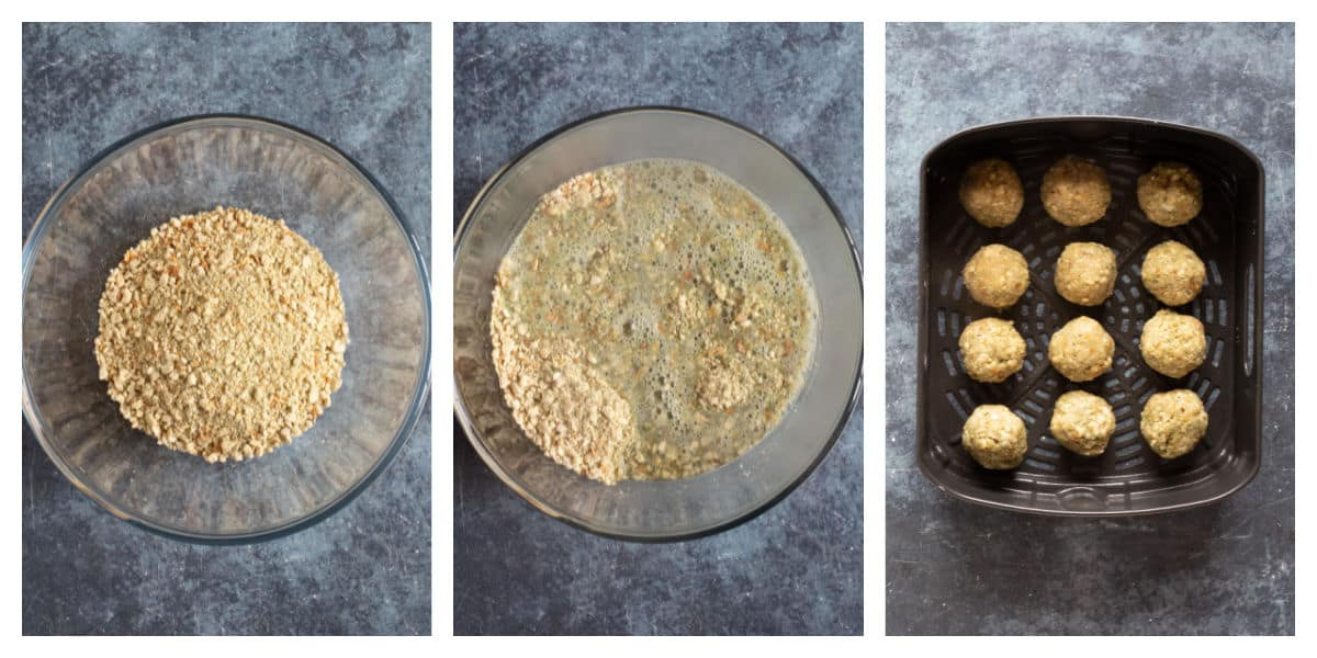 How to make air fryer stuffing balls step by step photos.