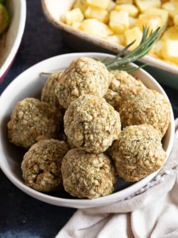 Air fryer stuffing balls in a bowl.