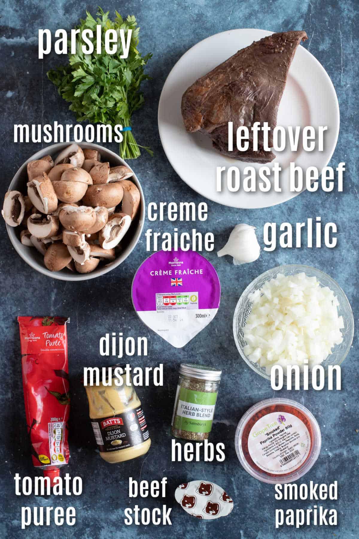 Ingredients needed to make leftover roast beef stroganoff.