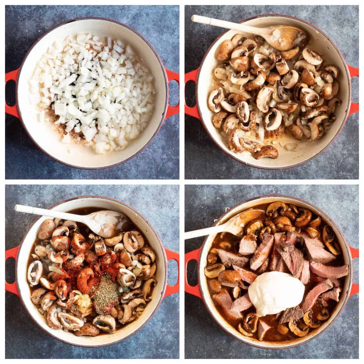 Step by step photo instructions for making leftover roast beef stroganoff.
