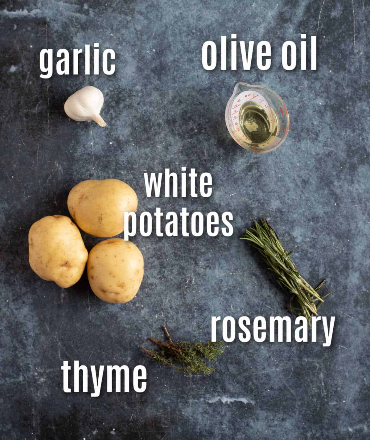 Ingredients needed to make Parmentier potatoes from scratch at home.