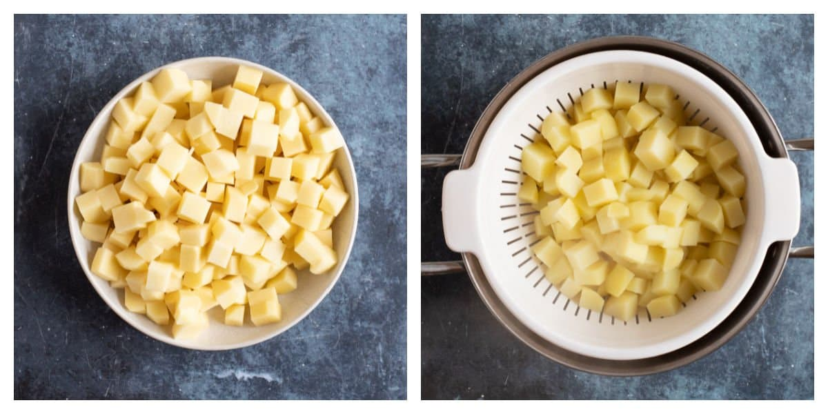Cutting potatoes into cubes for Parmentier potatoes.