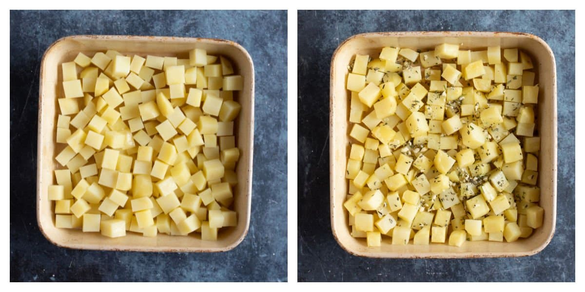 Roasting Parmentier potatoes with garlic and herbs.