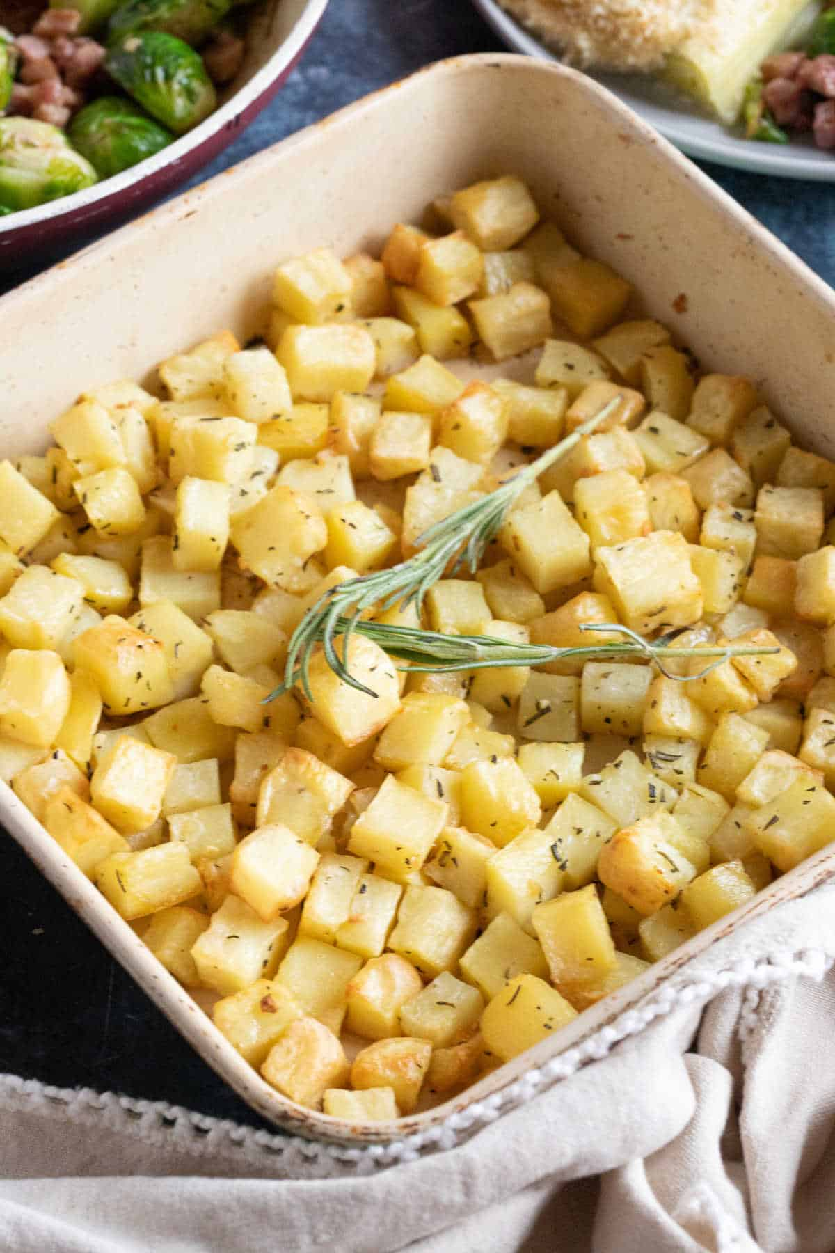 Parmentier potatoes with rosemary.