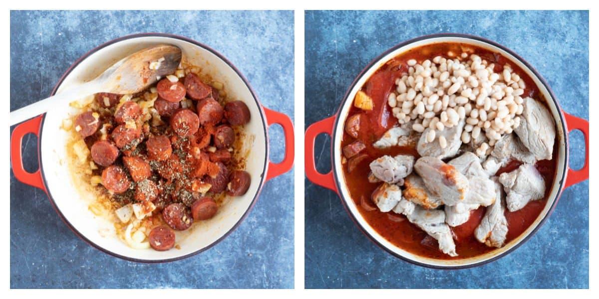 Simmering the pork and chorizo stew.
