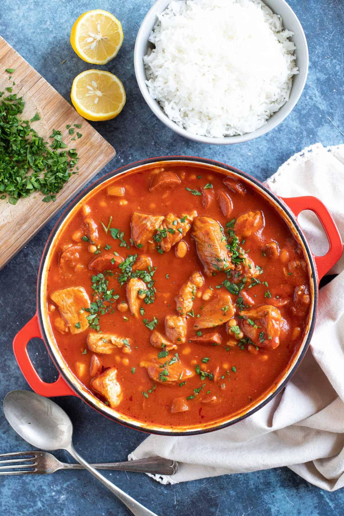 Smoky pork and chorizo stew with rice.
