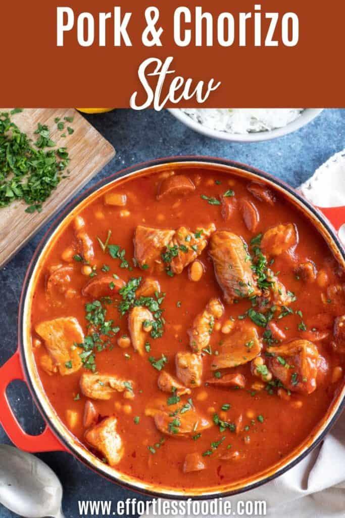 Pork and chorizo stew pin image.