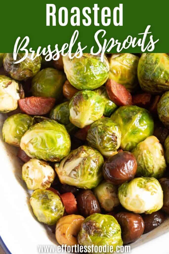 Roasted Brussels Sprouts pin image.