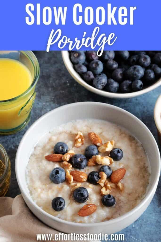 Slow cooker porridge pin image for Pinterest.